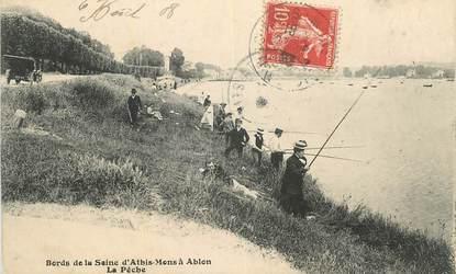 """CPA FRANCE 91 """"Athis Mons à Ablon, Les bords de la Seine, La pêche""""."""