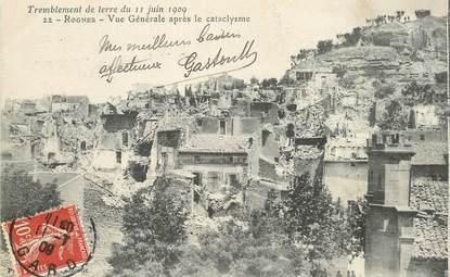 """CPA FRANCE 13 """"Rognes, tremblement de terre du 11 juin 1909, vue générale"""""""
