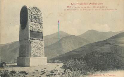 """CPA FRANCE 66 """" Mont Louis, Le monument à la mémoire du Commandant Gisclard""""."""