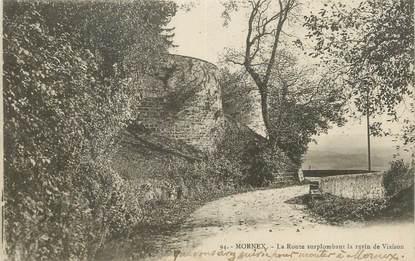 """CPA FRANCE 74 """" Mornex, La route surplombant le ravin de Viaison""""."""