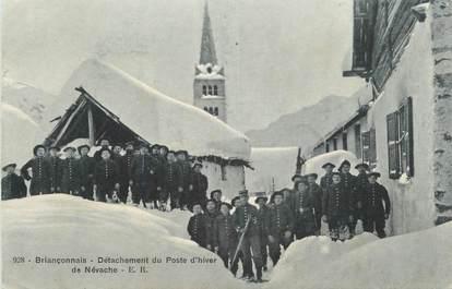 """CPA FRANCE 05 """" Nevache, Détachement du poste d'hiver""""."""