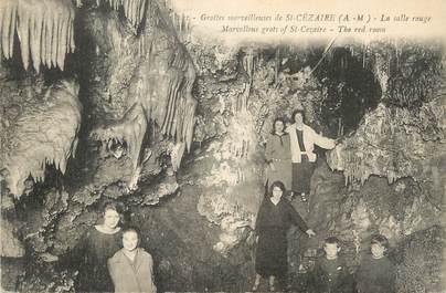 """CPA FRANCE 06 """"St Cézaire, Les grottes, la salle rouge"""". / GROTTES"""