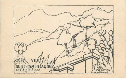 """CPA FRANCE 06 """"Menton, Vue sur les montagnes de l'Aigle Russe'""""."""