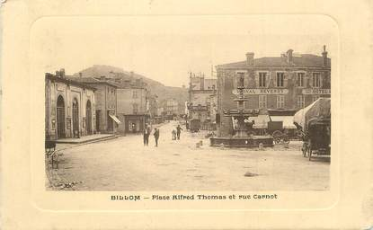 "CPA FRANCE 63 "" Billom, Place Alfred Thomas et Rue Carnot""."