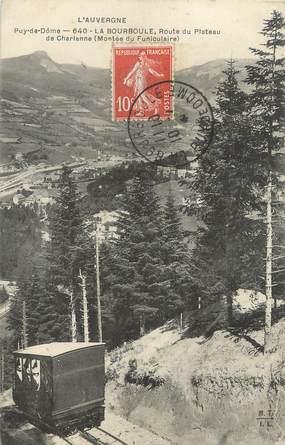 """CPA FRANCE 63 """" La Bourboule, Route du plateau de Charlanne, montée du funiculaire""""."""