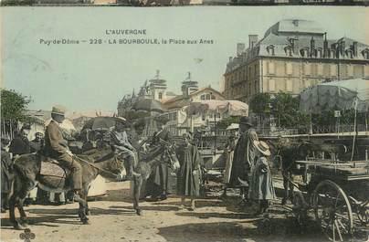 """CPSM FRANCE 63 """" La Bourboule, La Place aux ânes""""/ ANE"""
