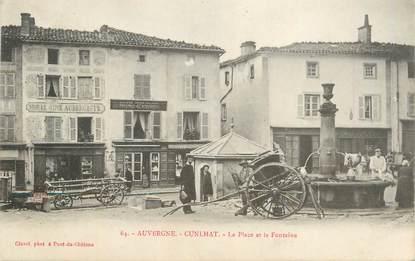 """CPA FRANCE 63 """"Cunlhat, La place et la fontaine""""."""