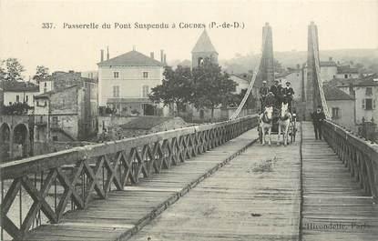 """CPA FRANCE 63 """"Coudes, La passerelle du pont suspendu""""."""