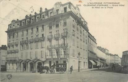 """CPA FRANCE 63 """" Clermont Ferrand, Grand Hôtel et Hôtel de la Poste""""."""