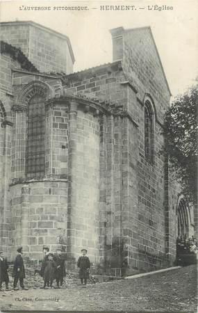 """CPA FRANCE 63 """" Herment, L'église""""."""