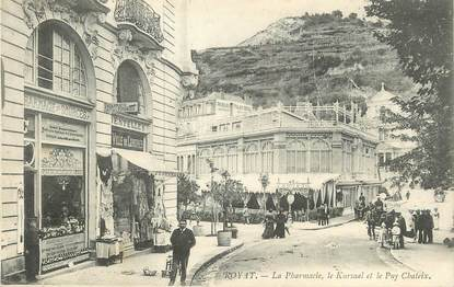 """CPA FRANCE 63 """"Royat, La pharmacie, le Kursaal et le Puy Charteix""""."""