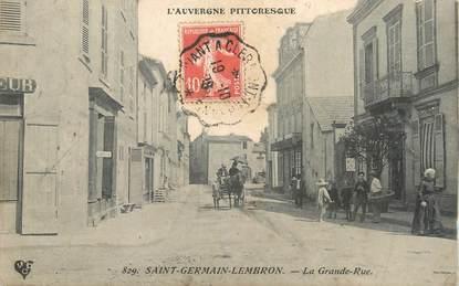 "CPA FRANCE 63 "" St Germain Lembron, La grande rue""."