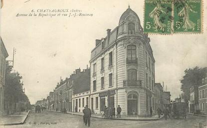 """CPA FRANCE 36 """"Chateauroux, avenue de la République et rue JJ Rousseau"""""""