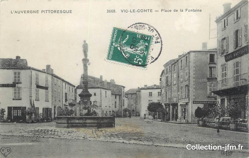 Cpa france 63 vic le comte place de la fontaine 63 for Piscine vic le comte