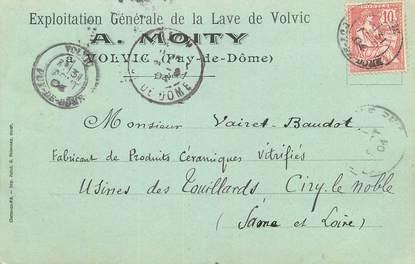 """CPA FRANCE 63 """" Volvic, Carte publicitaire Exploitation générale de la Lave A. Moity""""."""