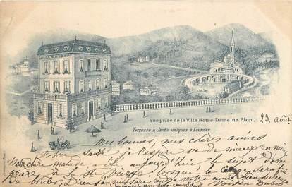 """CPA FRANCE 65 """" Lourdes, Vue prise de la Villa Notre Dame de Sion""""."""