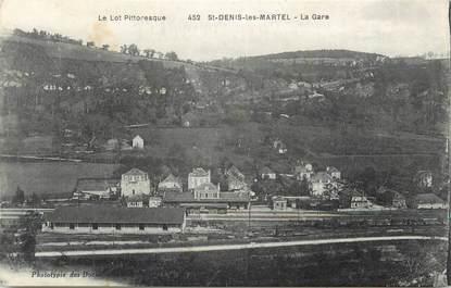 """CPA FRANCE 46 """" St Denis les Martel, La gare""""."""