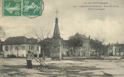 """CPA FRANCE 46"""" Lacapelle Marival, Place du Marché""""."""