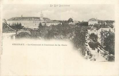 """CPA FRANCE 46 """" Gramat, Le couvent et l'avenue de la gare""""."""