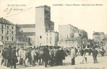"""CPA FRANCE 46 """" Cahors, Place Thiers, marché aux boeufs""""."""