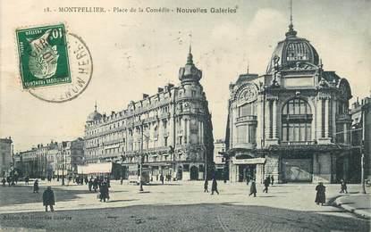 """CPA FRANCE 34 """"Montpellier, Place de la Comédie, Nouvelles galeries"""""""
