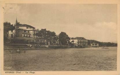 """CPA FRANCE 83 """" Hyères, La plage""""."""