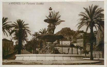 """CPSM FRANCE 83 """" Hyères, La fontaine Godillot""""."""
