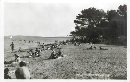 """CPSM FRANCE 83 """" Hyères, La plage""""."""