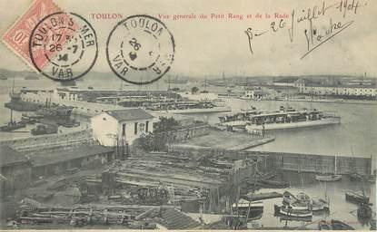 """CPA FRANCE 83 """"Toulon, Vue générale du Petit Rang et de la rade""""."""
