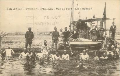 "CPA FRANCE 83 ""Toulon , L'Escadre vue du bord, la baignade""."