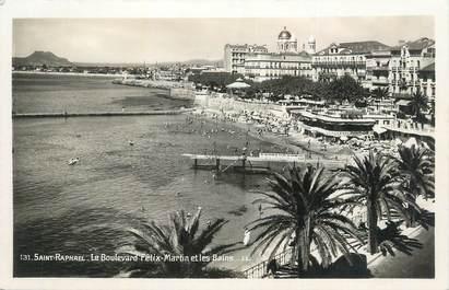 """CPSM FRANCE 83 """" St Raphaël, Le Boulevard Félix Martin et les bains"""" ."""