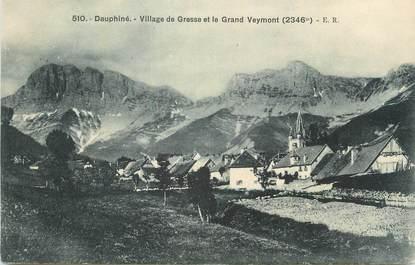 """CPA FRANCE 38 """"Gresse, Le village et le Grand Veymont""""."""