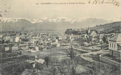 """CPA FRANCE 73 """" Chambéry, Vue générale et Massif des Bauges""""."""