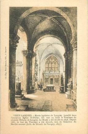 """CPA FRANCE 52 """" Vieux Langres, Musée lapidaire installé dans l'ancienne église St Didier""""."""