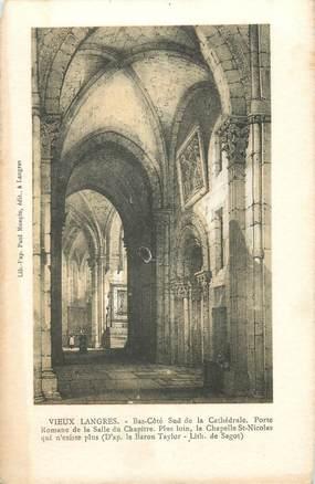 """CPA FRANCE 52 """" Vieux Langres, La cathédrale, Porte romane de la Salle du Chapitre""""."""