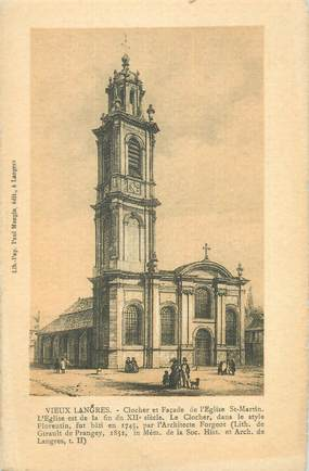 """CPA FRANCE 52 """" Vieux Langres, Clocher et façade de l'église St Martin""""."""