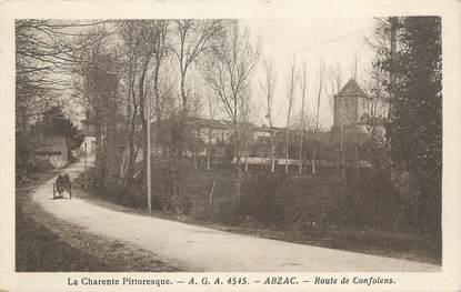 """CPA FRANCE 16 """" Abzac, Route de Confolens""""."""