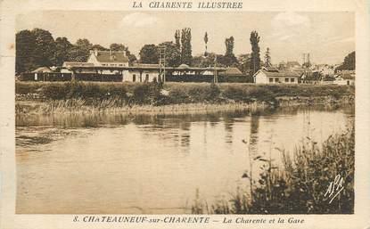 """CPA FRANCE 16 """"Chateauneuf sur Charente, La Charente et la gare""""."""