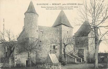 """CPA FRANCE 32 """" Béraut, restes d''un château fort du XVème siècle""""."""