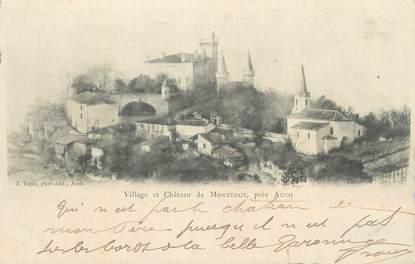 """CPA FRANCE 32 """" Montégut, Le village et le château""""."""