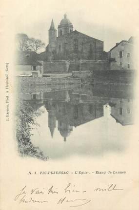 """CPA FRANCE 32 """" Vic Fezensac, L'église, étang de Lannes""""."""