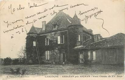 """CPA FRANCE 32 """" Sabazan, Vieux château du XVème siècle""""."""