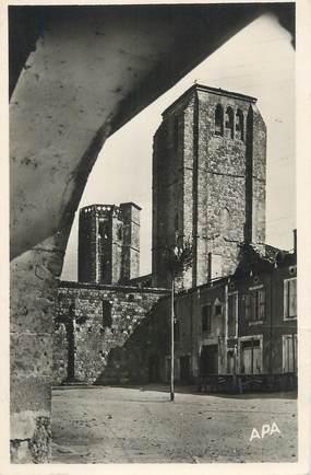 """CPSM FRANCE 32 """" La Romieu, Tour de l'église collégiale""""."""