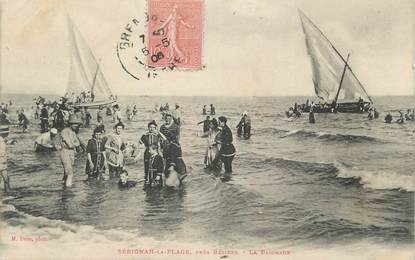 """CPA FRANCE 34 """" Sérignan la Plage, La baignade""""."""