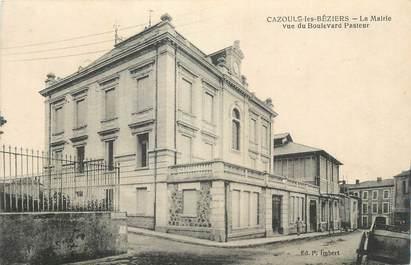 """CPA FRANCE 34 """"Cazouls les Béziers, La Mairie vue du Boulevard Pasteur""""."""