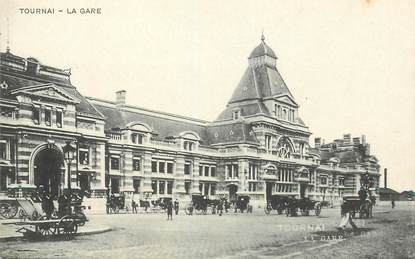 """CPA BELGIQUE """"Tournai, la gare"""""""