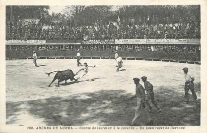 """CPA FRANCE 34 """"Lunel, Les arènes, course de taureaux à la cocarde""""."""