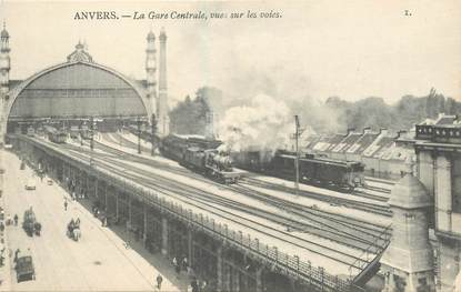 "CPA BELGIQUE ""Anvers, la gare centrale"" / TRAIN"