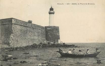 """CPA FRANCE 34 """" Agde, Le phare de Brescou""""."""