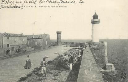 """CPA FRANCE 34 """" Agde, Intérieur du Fort de Brescou""""."""